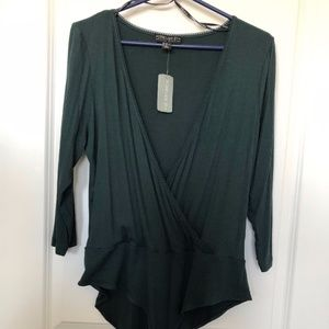 Forever 21+ green long sleeve body suit brand new